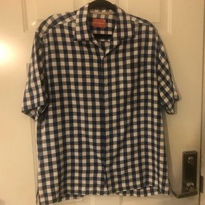 Tommy Bahama Silk Blend Button Shirt Blue plaid L